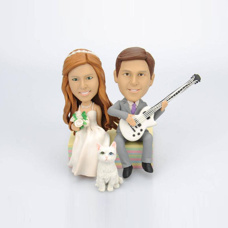 Custom Wedding Couple Bobblehead with Cat and Guitar