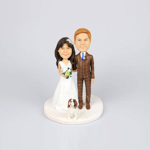 Custom Elegant Wedding Couple Cake Topper Bobblehead