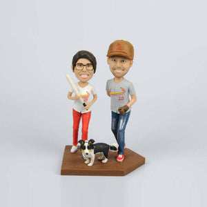 Custom Couple Bobblehead with Pet and Baseball bats