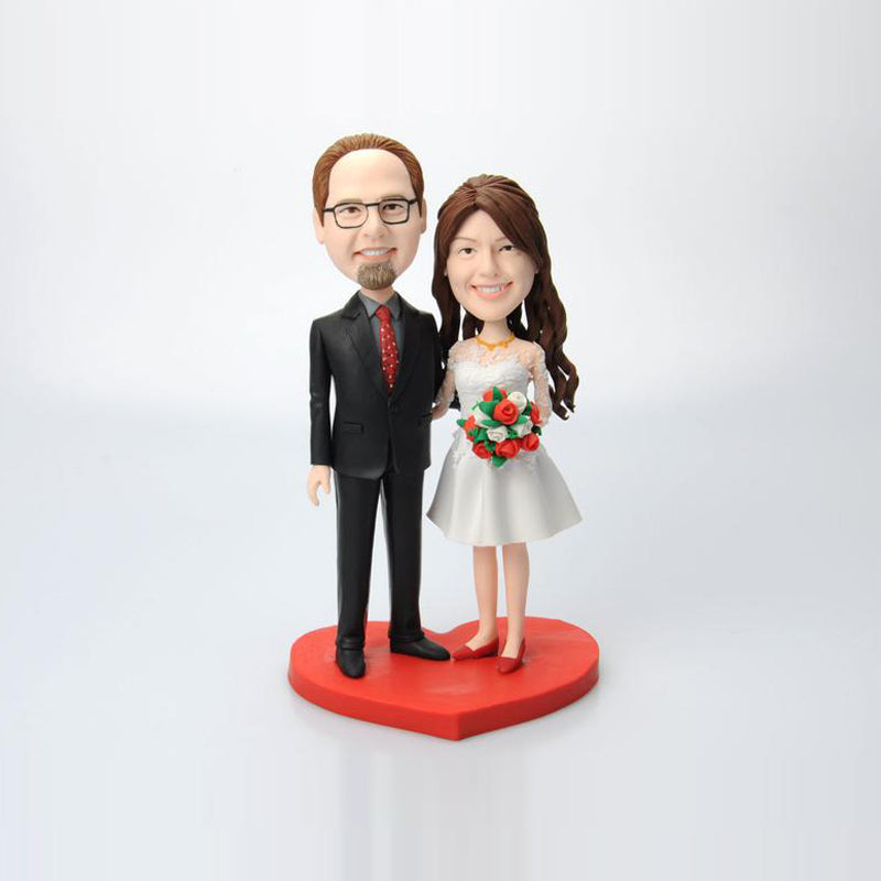 Custom Wedding Couple Bobblehead with Flowers - BobbleGifts