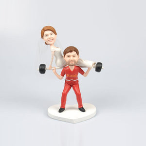 Cute Wedding Cake Weight Lifting Bobblehead Dolls