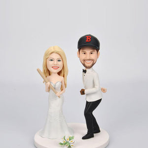 Custom Wedding Couple Bobblehead for Baseball Fans