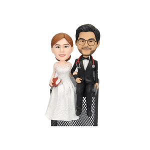 Custom Doctor & Teacher Wedding Couple Bobbleheads