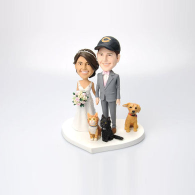 Custom Wedding Couple Cake Topper with Lovely Pets