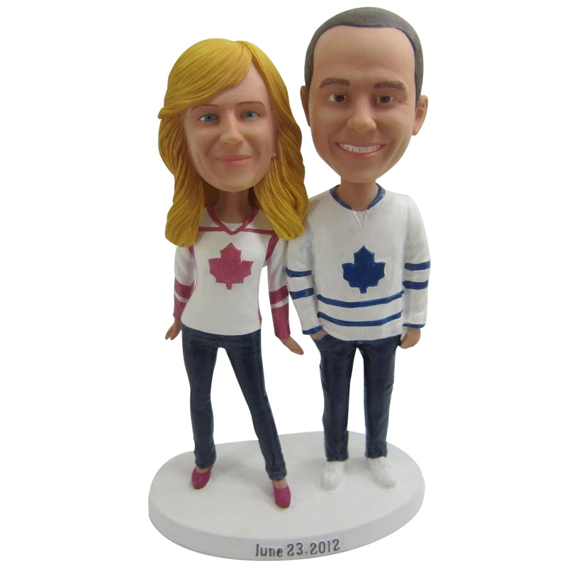 Custom Couple Happy Casual Bobbleheads