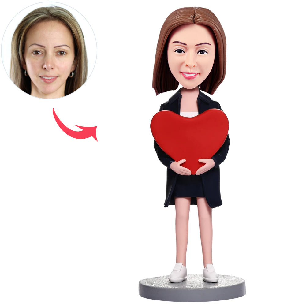 Custom Women Bobbleheads with Heart - BobbleGifts