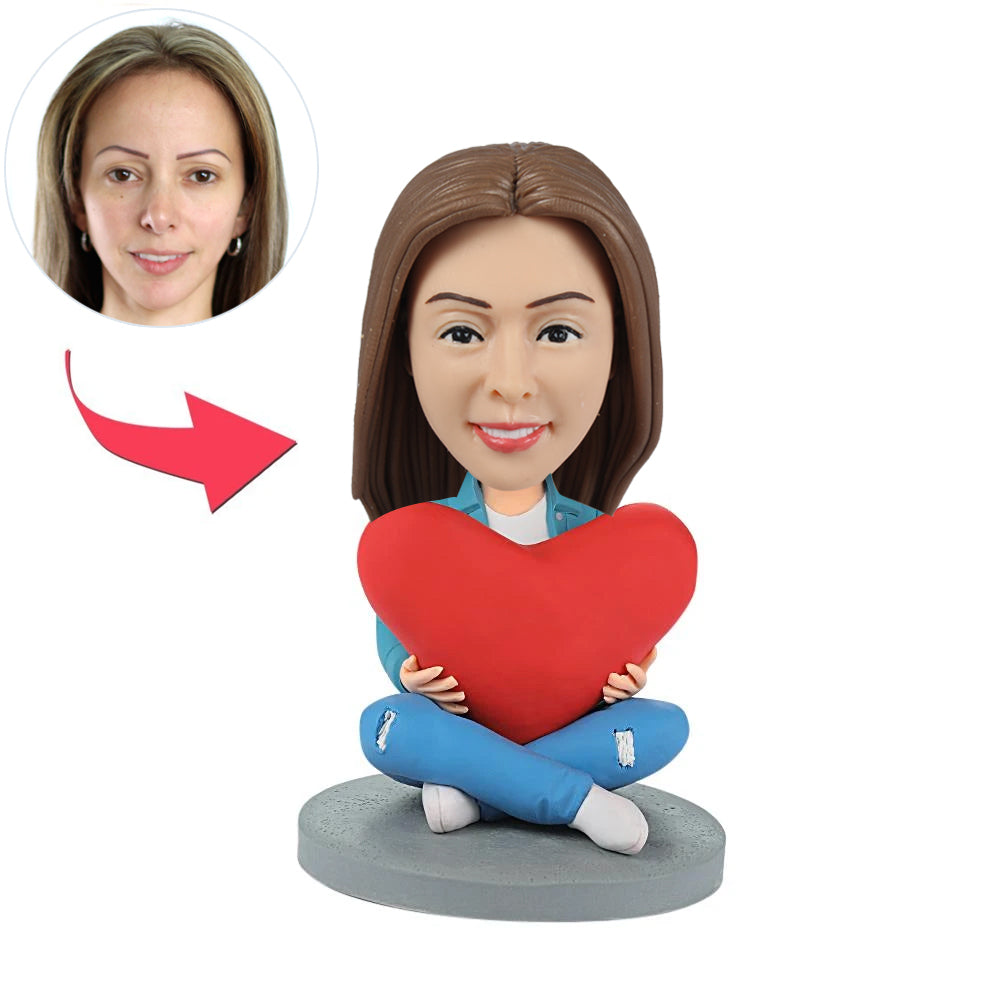Personalized Custom Female Bobbleheads with Heart - BobbleGifts