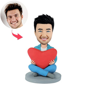 Custom Men Bobbleheads with Heart - BobbleGifts