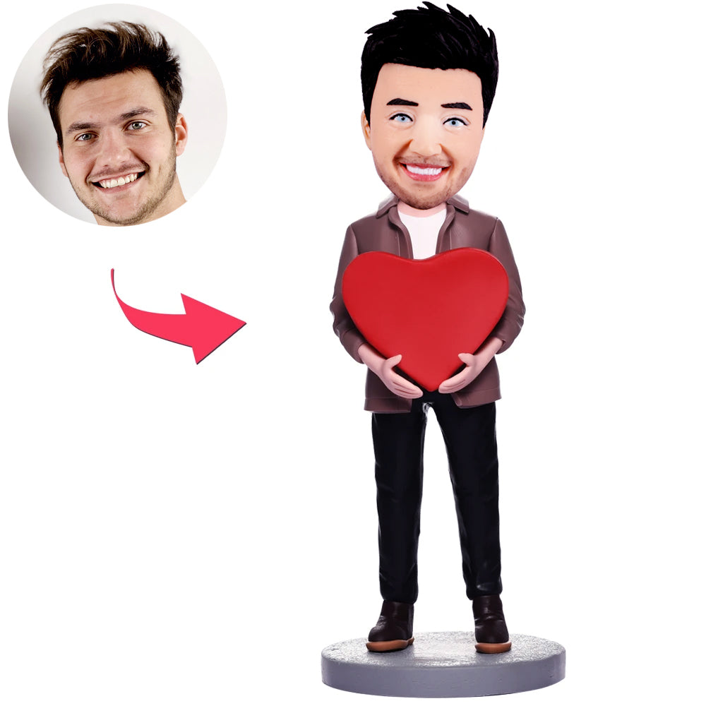 Custom Male Bobbleheads with Heart - BobbleGifts