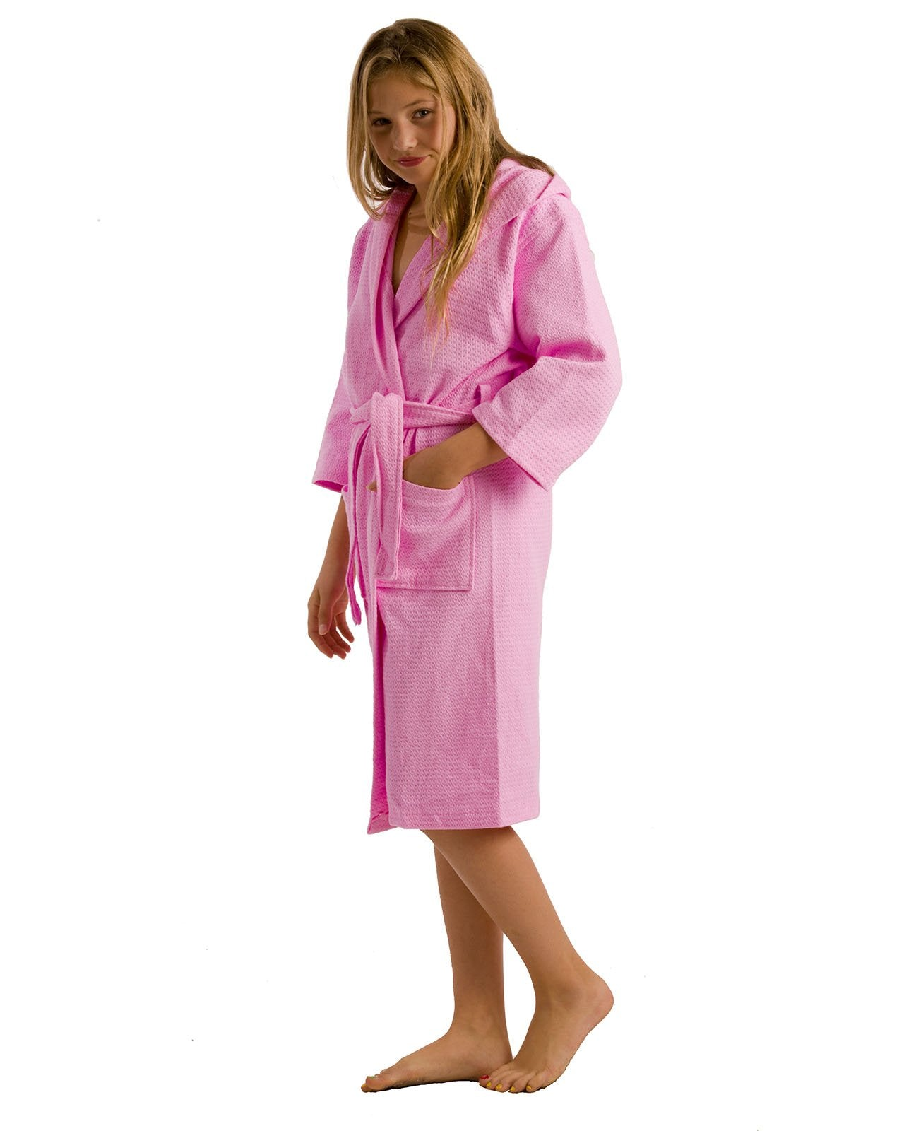 Diamond Weave Hooded Kids Robes - bath towel wrap with straps