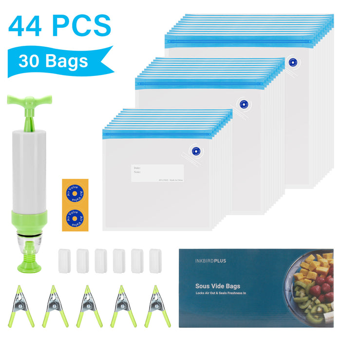 INKBIRD Sous Vide Bags, 30 Reusable Vacuum Food Storage Bags for Anova, Chefsteps, and Joule Cookers, 3 Sizes Sous Vide Bag Kit with 1 Hand Pump, 5 Sous Vide Bag Clips and 6 Sealing Clips for Food Storage and Sous Vide Cooking