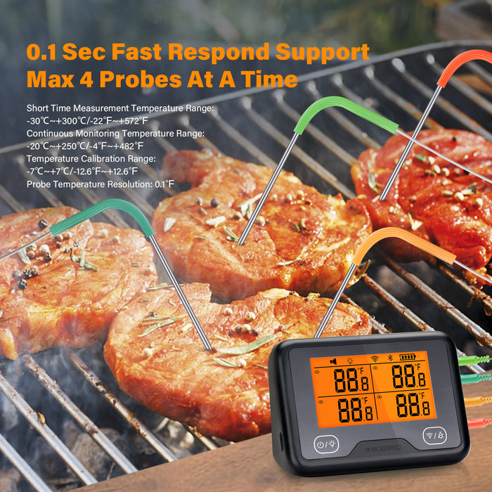 Inkbird Wi-Fi&Bluetooth Wireless Grill Thermometer IBBQ-4BW