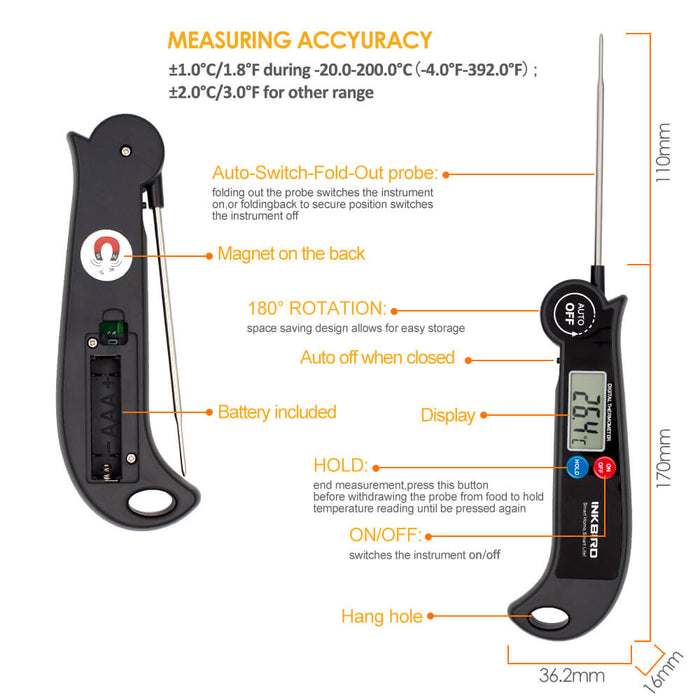 Inkbird Digital Instant Read Food Cooking Kitchen BBQ Thermometer HET-F001 with C/F Switch