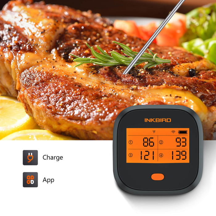 Rechargeable WiFi Rainproof Grill Thermometer IBBQ-4T with 4 Probes  for Smoker, Oven, Kitchen, Drum