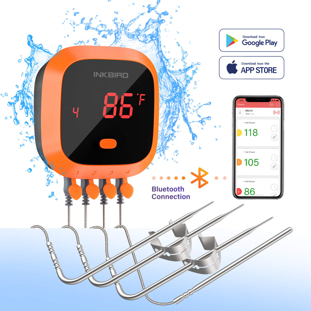 Inkbird IBT-4XC Waterproof Wireless Grill Thermometer with 1000mAh Li-Battery and USB Charging Cable