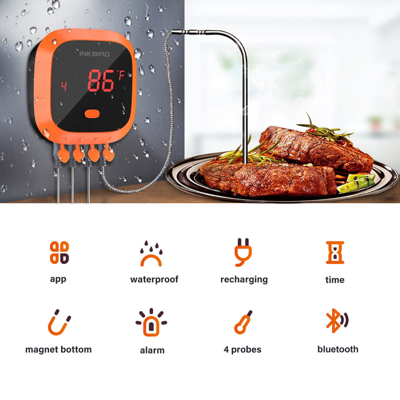Inkbird IBT-4XC Bluetooth Wireless Grill Thermometer with 1000mAh Li-Battery and USB Charging Cable