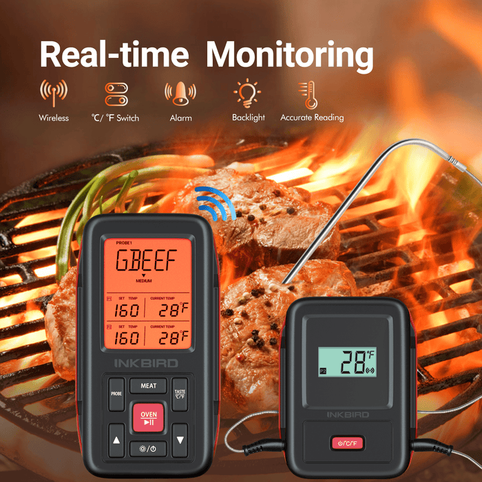 Inkbird IRF-2SA 500 Feet Wireless Remote Digital Food Meat Cooking Thermometer with Backlight