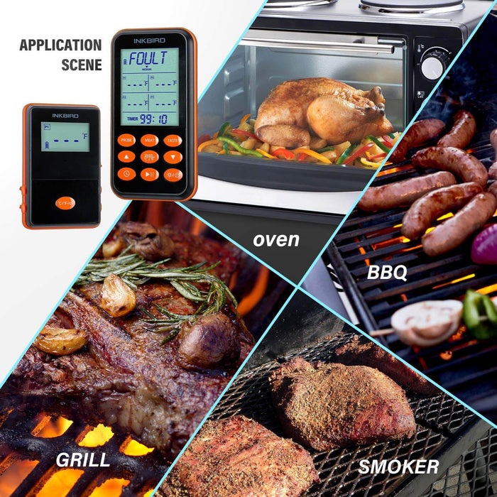 Inkbird IRF-4S Remote Wireless Waterproof Meat Grill Thermometer with two probes