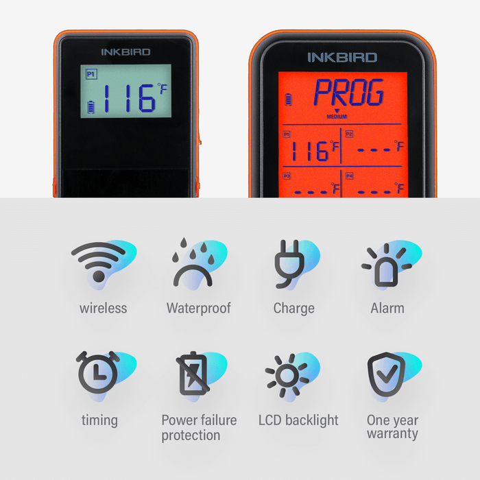 Inkbird IRF-4S Remote Wireless Waterproof Meat Grill Thermometer with four probes
