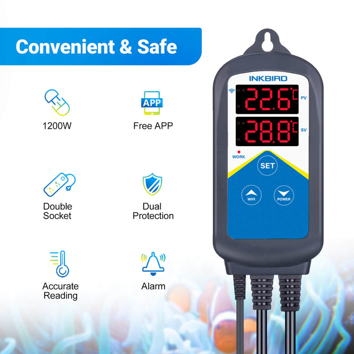 Inkbird Wi-Fi Aquarium Temperature Controller ITC-306A for Fish Tank Water Terrarium with Dual Probe