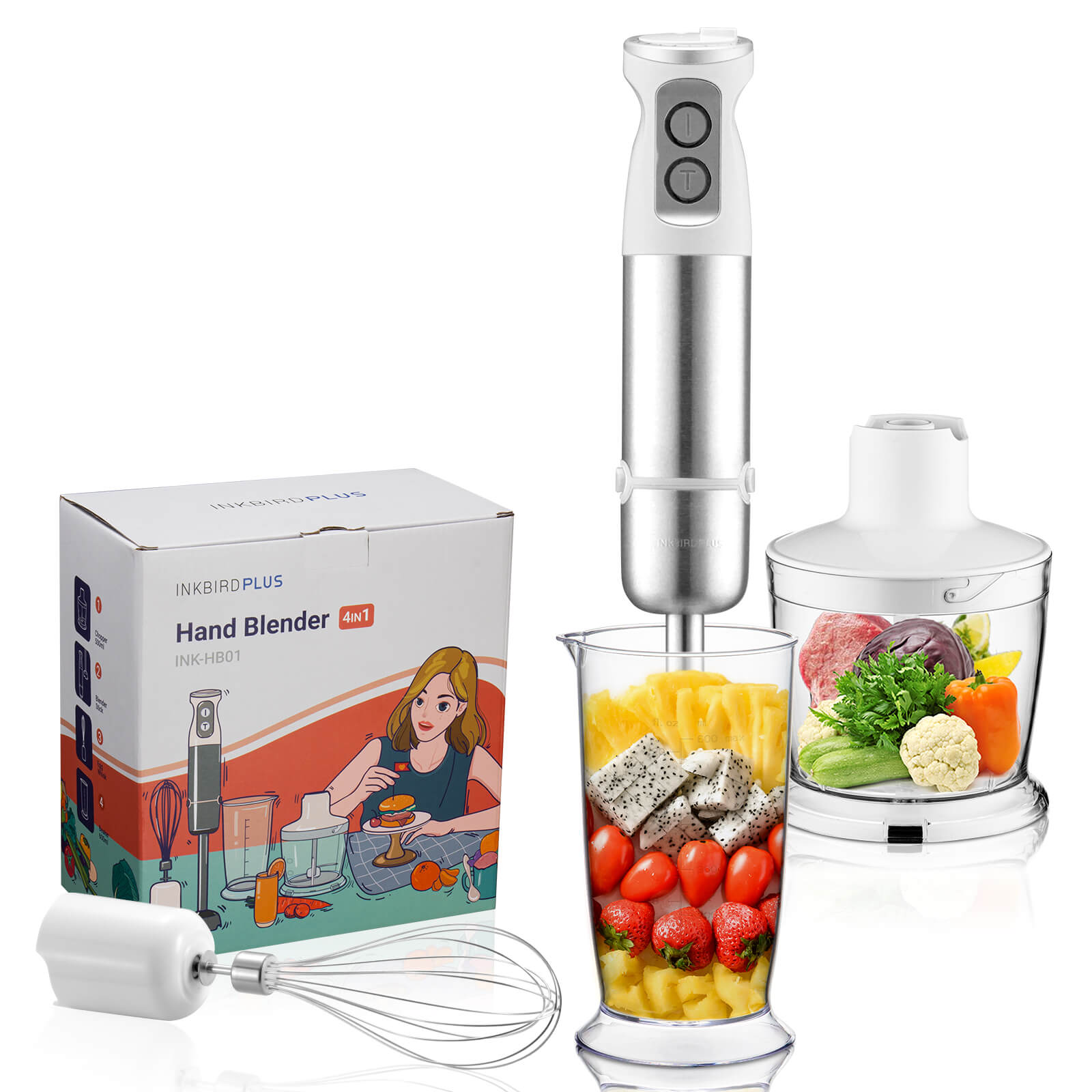 INKBIRD INK-HB01 Immersion Hand Blender, Ideal for Smoothies,BabyFood, Sauce and Soup