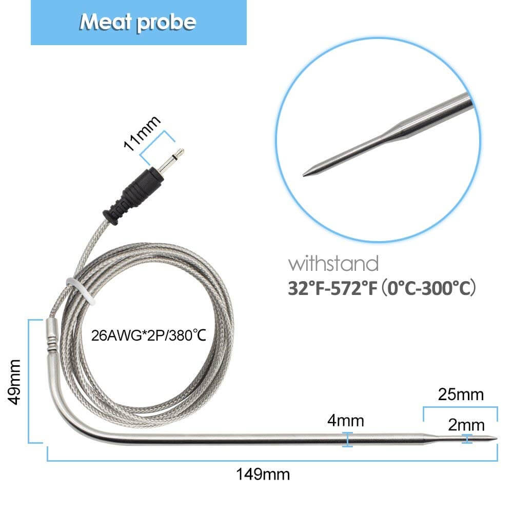 Food-grade Stainless Meat Oven Probe Only for Inkbird Thermometer IRF-2SA and IRF-2S