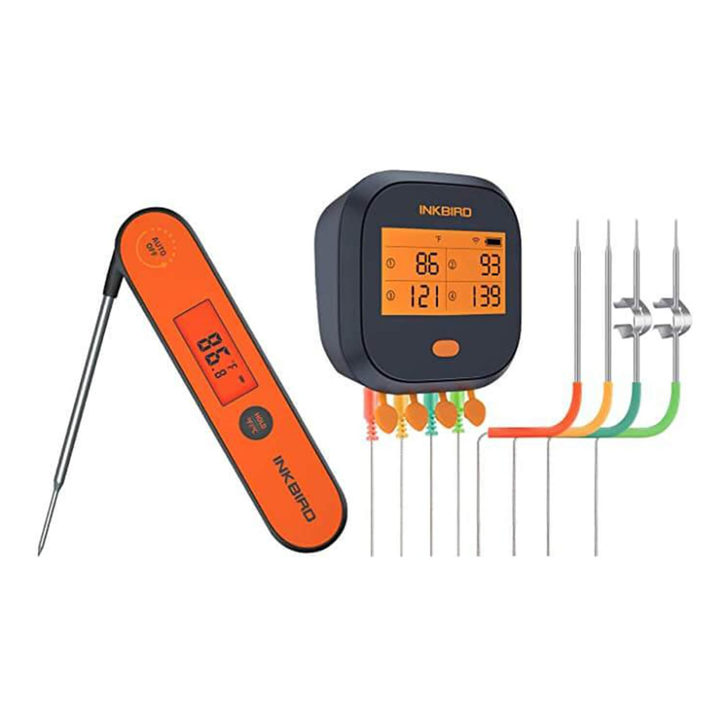 Inkbird WiFi Grill Thermometer IBBQ-4T with 4 Meat Probes and Waterproof Instant Read Thermometer IHT-1P