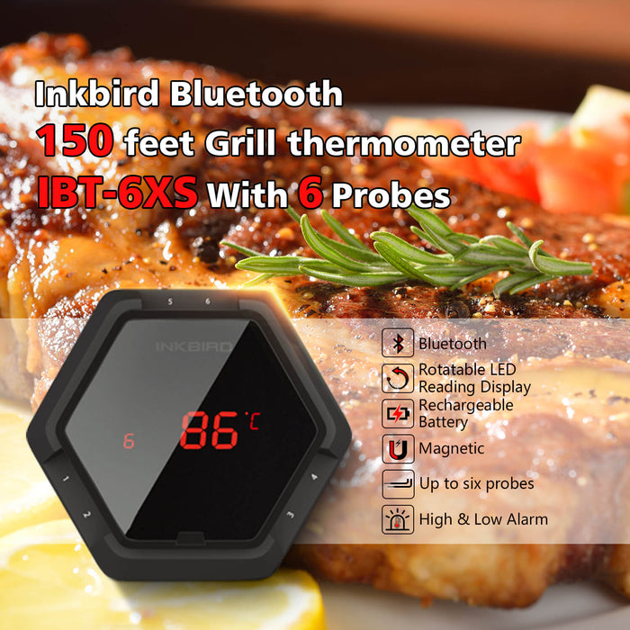 Inkbird Digital Bluetooth Wireless BBQ Thermometer IBT-6XS With Up to Six Probes For Grill Cooking Oven