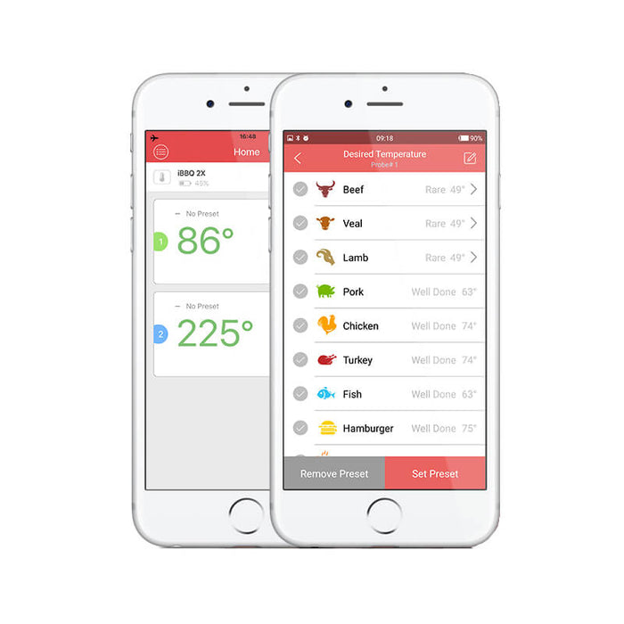 inkbird bbq thermometer app interface