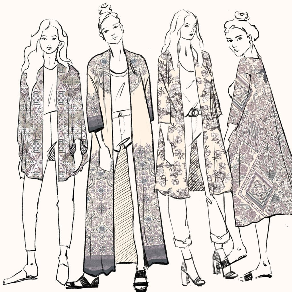 Different styles of kimonos