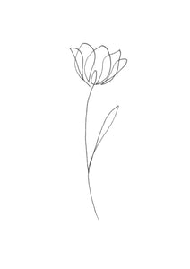 Digital Print Single Line Flower