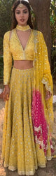 Rhea Chakraborty in our yellow embroidered lehenga set