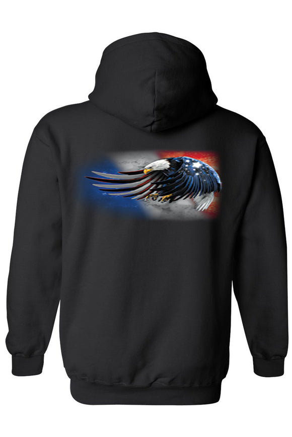 Patriotic Bald Eagle Unisex Hoodie - Sticker It Out and More