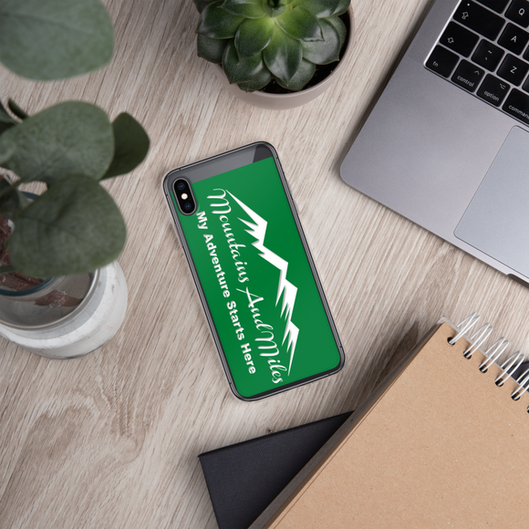 Mountains and Miles iPhone Cover - Green/White Graphic - Sticker It Out and More
