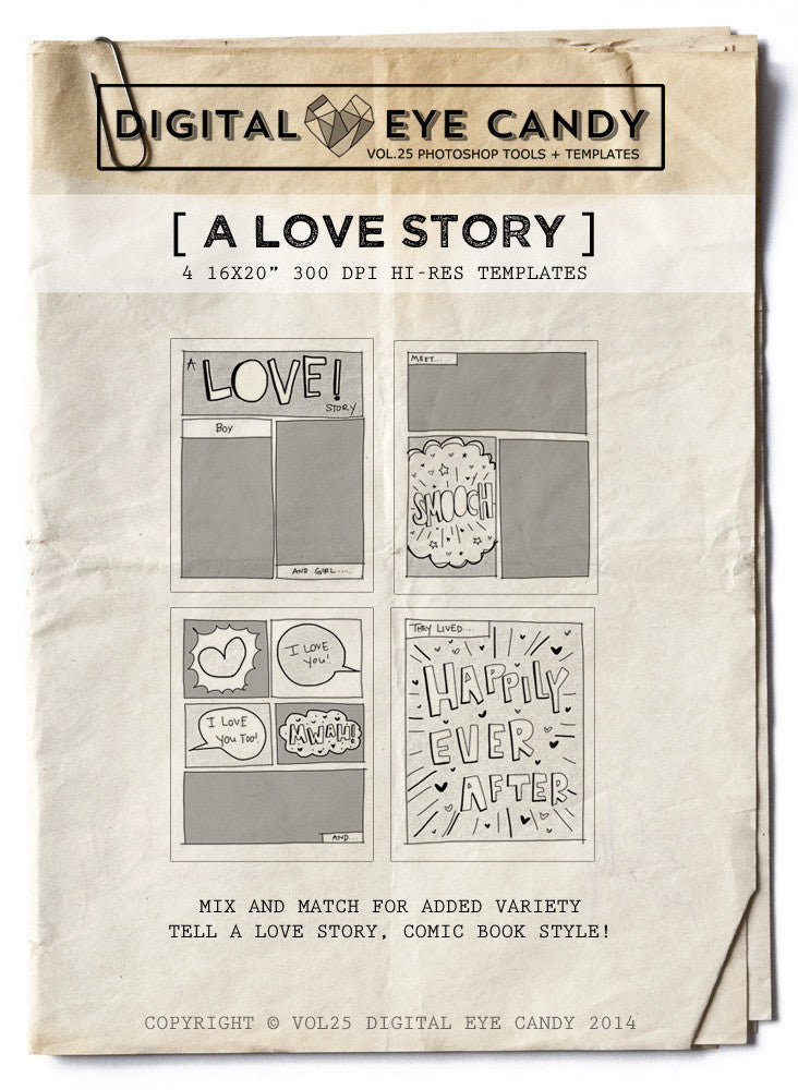 4 STORYBOARD TEMPLATES   A LOVE STORY 16X20