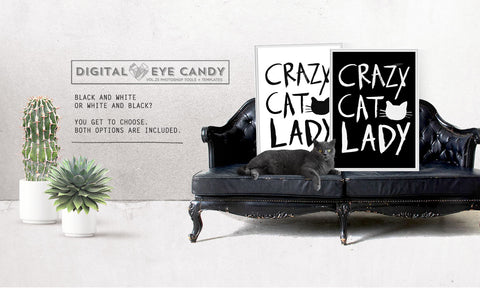 Crazy Cat Lady - Instant Download Printable Brush Script Art