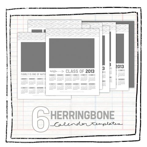 Calendar Templates- HERRINGBONE SENIOR OR FAMILY for WHCC