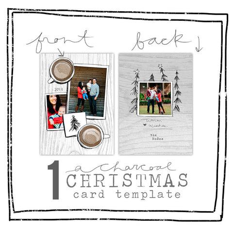 Card Template - CHARCOAL CHRISTMAS - COFFEE