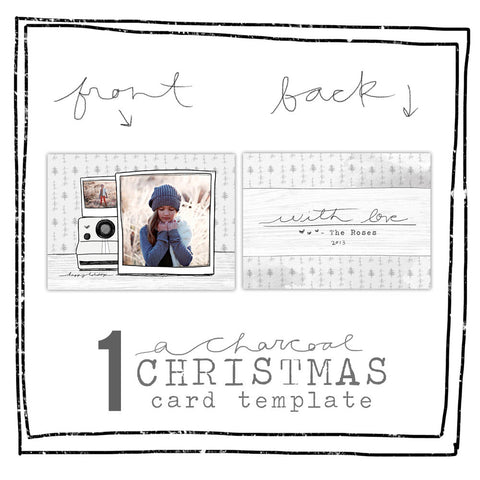 Card Template - CHARCOAL CHRISTMAS - POLAROID
