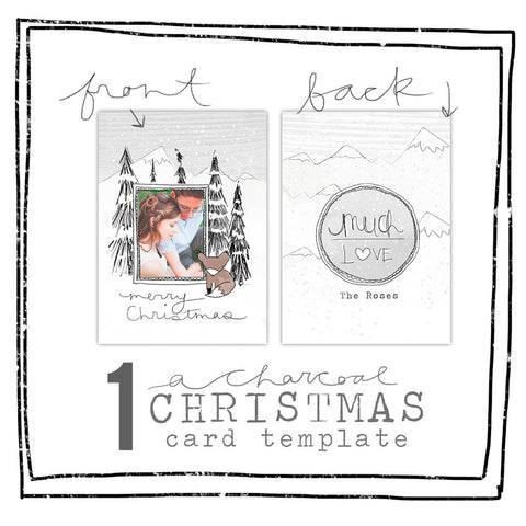 Card Template - CHARCOAL CHRISTMAS - WOODLAND