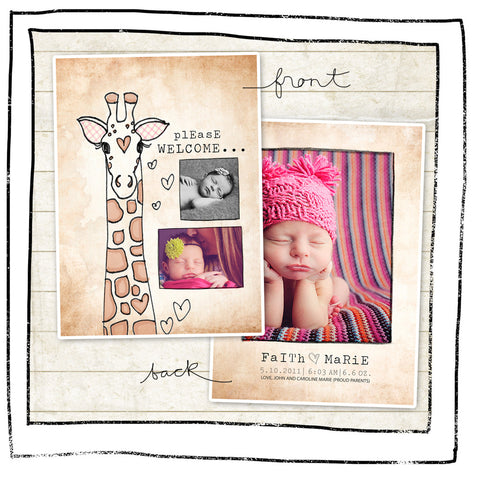 Card Template - Baby announcement- Giraffe