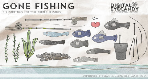 ILLUSTRATED STORYBOARDS - GONE FISHING Themed Series 16X20