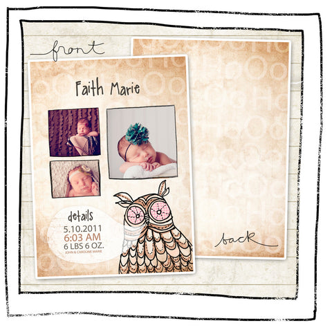 Card Template - Baby announcement- Owl