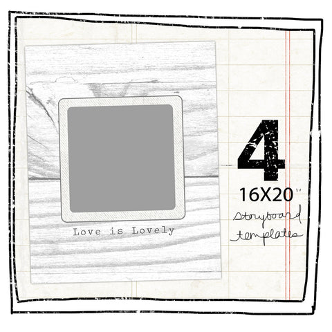 4 STORYBOARD TEMPLATES - RUSTIC VINTAGE 16X20