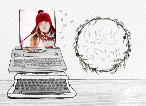 Card Template - CHARCOAL CHRISTMAS - TYPEWRITER