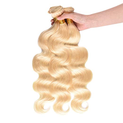 #613 Blonde Body Wave Brazilian Virgin Human Hair 3 Bundles With Free Part  4x4 Lace Closure