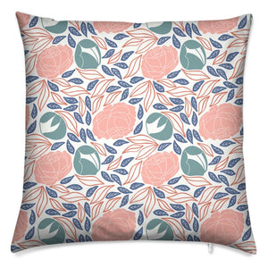 Pretty Peonies Block Print Cushion