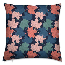 Load image into Gallery viewer, Designer block print cushion featuring autumn leaves swirling design available with either a poly of feather cushion insert