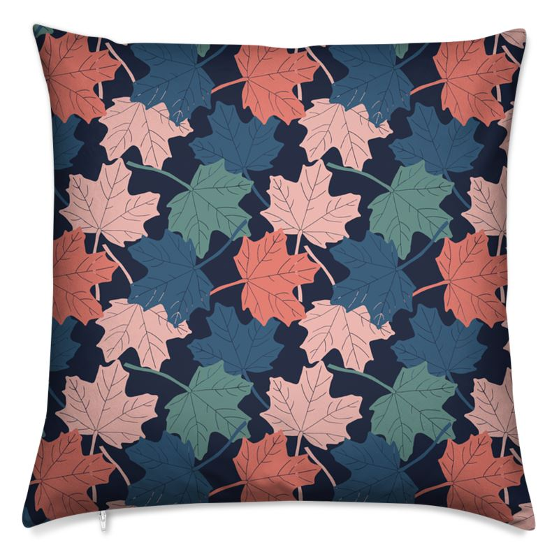 Designer block print cushion featuring autumn leaves swirling design available with either a poly of feather cushion insert