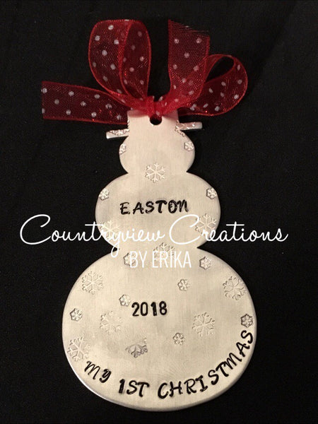 Baby's 1st Christmas Ornament. Hand-Stamped Snowman.